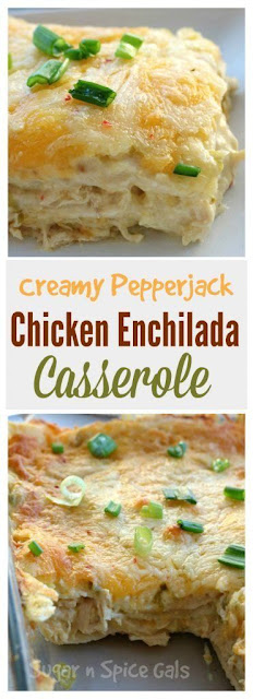 Creamy Pepperjack Chicken Enchilada Casserole
