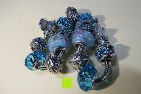 zusammen: A TE® Armband Charms Damen Kristall Blau Muranoglas Blume Glasperle Mädchen Geschenk Frauen #JW-B94