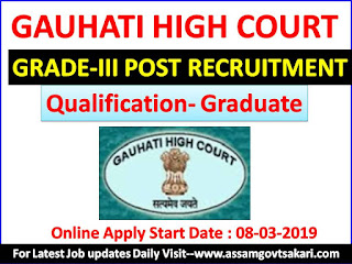 Gauhati High Court Grade-III Recruitment 2019 Advertisement Details