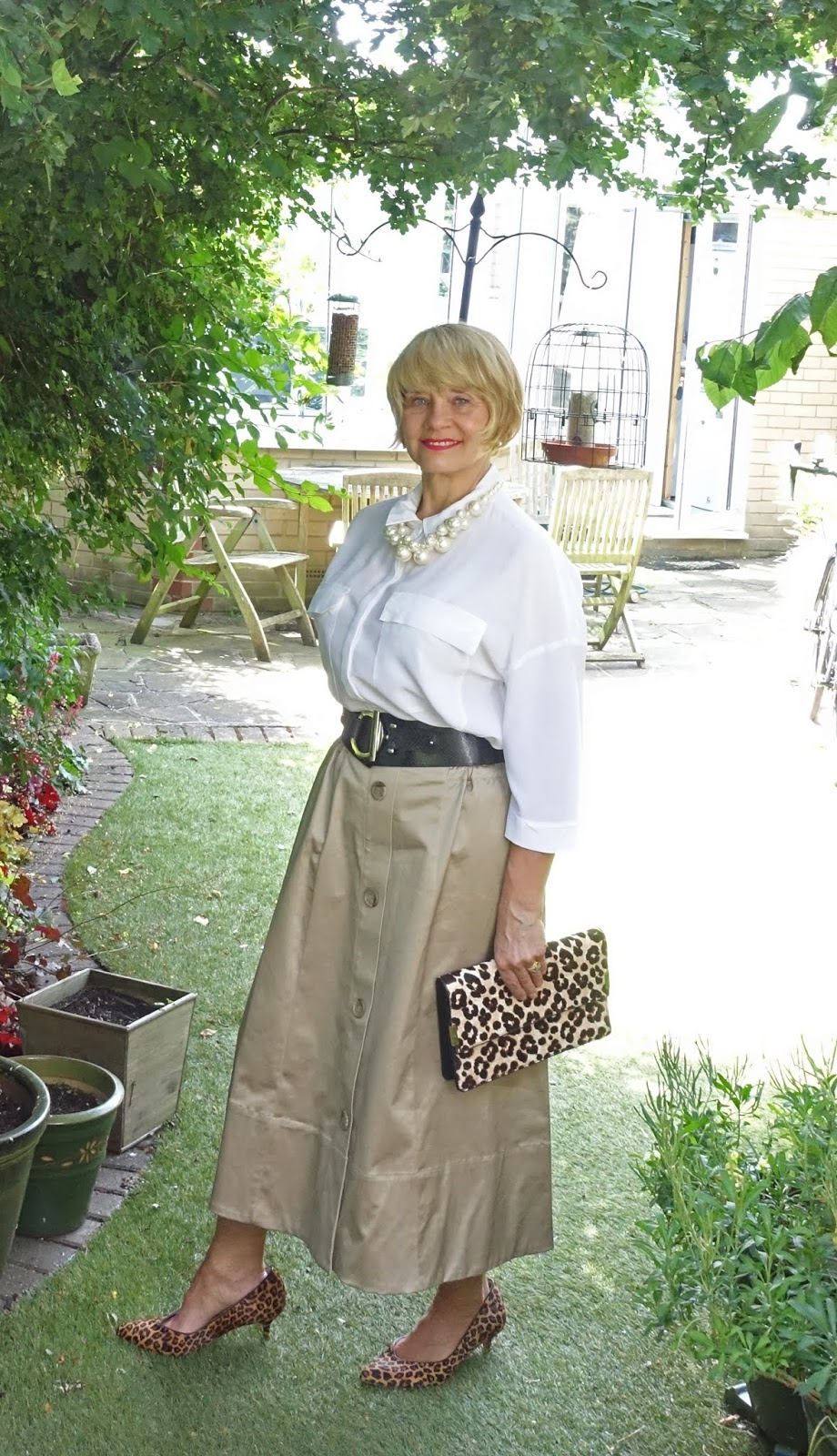 Take a midi length A line camel skirt and create three different looks. Voila! Over 40s blog Is This Mutton? takes the supremely soft supima skirt from Marks and Spencer and tries it with lilac and cream and black for the office.