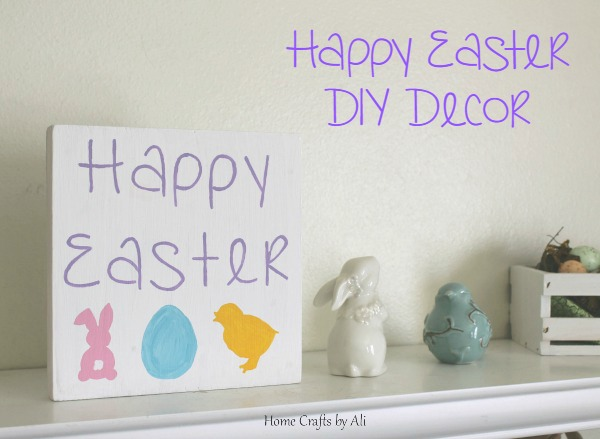DIY Easter decoration painted block with bunnies, egg, chick & Happy Easter