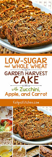 Low-Sugar and Whole Wheat Garden Harvest Cake with Zucchini, Apple, and Carrot found on KalynsKitchen.com
