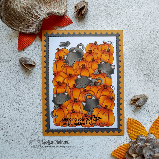 Cats in Pumpkin Patch Card by Zsofia Molnar | Newton's Pumpkin Patch Stamp Set by Newton's Nook Designs #newtonsnook