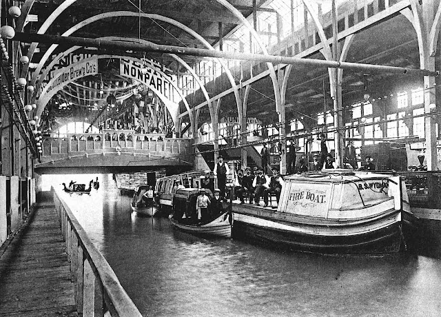 gondolas and a fire boat in Machinery Hall at the 1888 Cincinnati Expo, a photograph