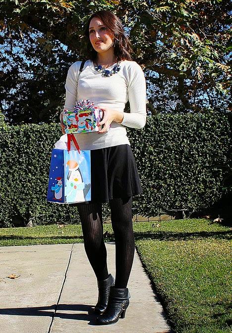 skater skirt, cream sweater, Lulu's necklace, booties