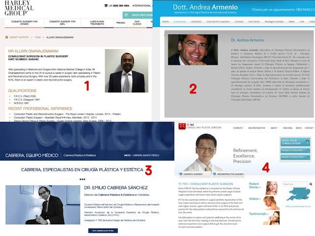 perfiles quirúrgicos Mr. Allwin Gnanajebamani, Dr. Andrea Armenio, Mr TC Teo, Dr. Emilio Cabrera