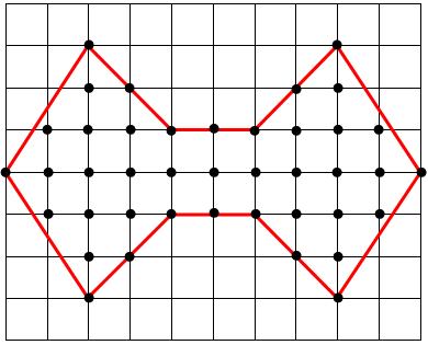 Polígono irregular de diez lados dibujado sobre papel cuadriculado de un centímetro