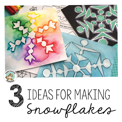 3 simple ways to make a snowflake drawing project.  Step by step instructions for an easy winter activity for kids.  Snowflakes are also a great way to integrate art, math and science! #wintercrafts #snowflakedrawing #artlesson #snowflakeart