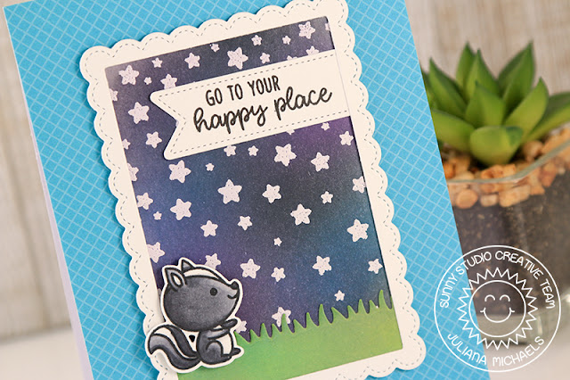 Sunny Studio Stamps: Cascading Stars Critter Campout Night Sky Framed Background Card by Juliana Michaels