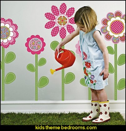 Flower Power Pink Multi Wall Decals little girls garden bedrooms