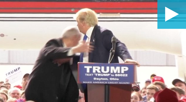 US presidential candidate Donald Trump had a back-to-back security scare when a member of the audience tried to climb onto his stage at Ohio.  Secret Service agents reacted quickly, rushed to the stage surrounding Trump. The man was taken to custody and a probe is on.