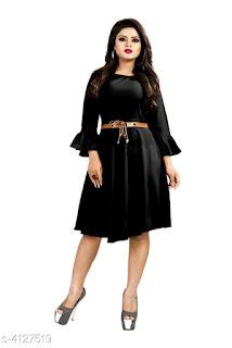 Solid Black Knee length Crepe Dress