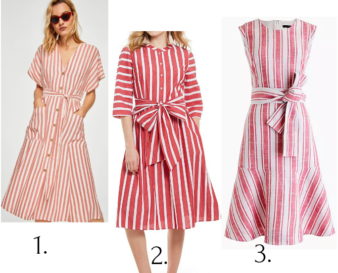 Mango Striped Linen Midi Dress, Cremieux Tyler Stripe Tie Front Midi Dress, J. Crew Belted Dress in Linen