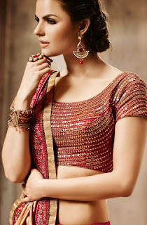 Beige Red Embroidered Lehenga