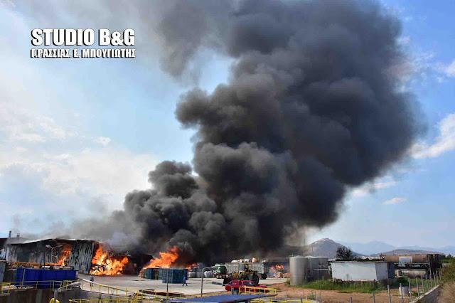 Αργολίδα: Μεγάλη πυρκαγιά στο εργοστάσιο Εσπερίδες στη Νέα Κίο (βίντεο)