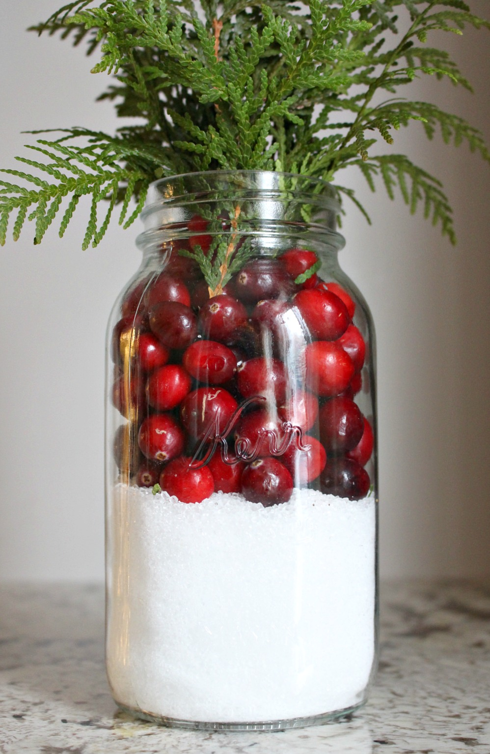 Cranberry, Cedar, Epson Salt + Mason Jar Center Piece