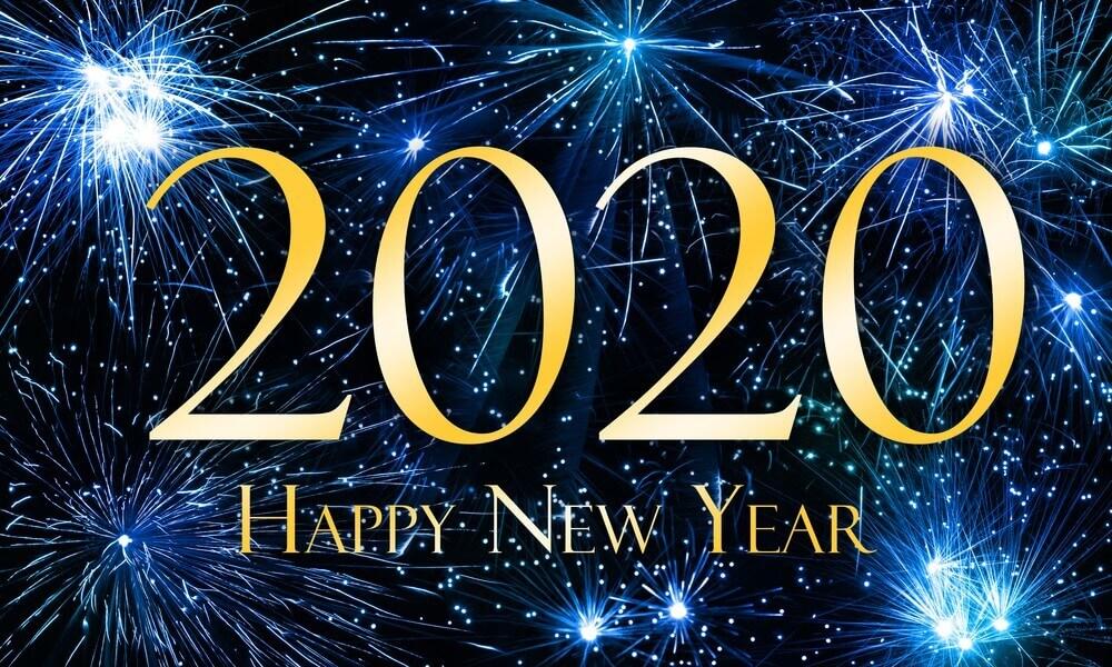 Happy New Year 2020, Blue, Firework Art