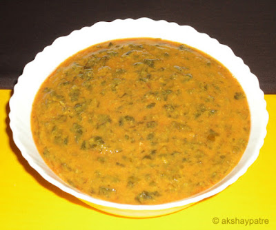amaranth leaves palya in a serving bowl