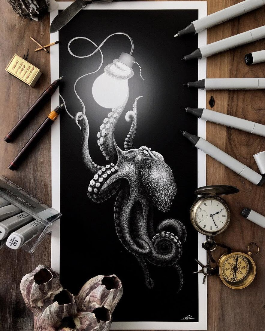 01-The-Octopus-and-the-Light-Bulb-Nicholas-Baker-Stippling-Black-and-White-Drawings-www-designstack-co