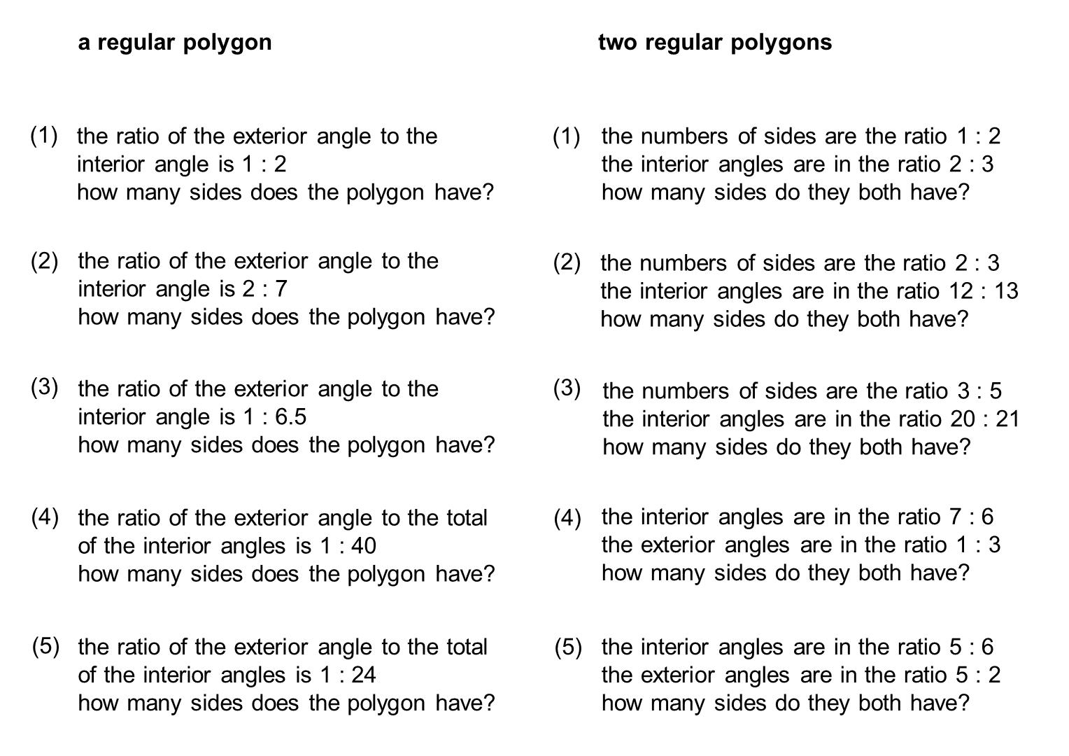 Median Don Steward Mathematics Teaching Ratio And Polygon Angles