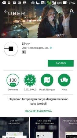 Uber1 cara membuat akun uber via playstore