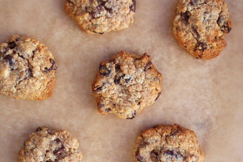 whole wheat oatmeal, raisin and chocolate chip cookies