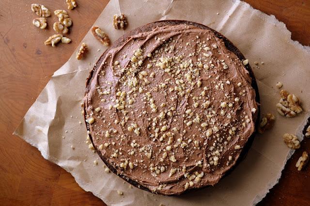 deep dark chocolate walnut cake