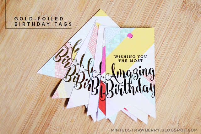photograph regarding Printable Birthday Tags called Cost-free Printable: Gold-Foiled Birthday Tags - Minted Strawberry