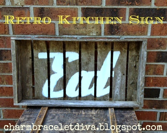 retro kitchen eat sign stencil wood paint