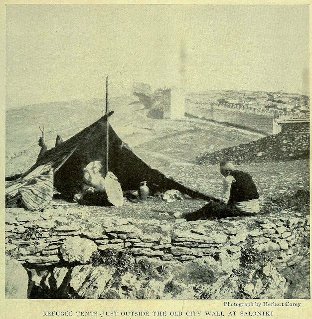 REFUGEE TENTS JUST OUTSIDE THE OLD CITY WALL AT SALONIKI
