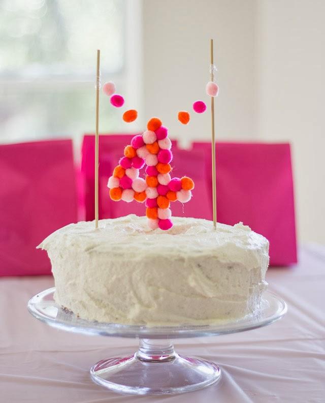 Pom Pom Cake Topper Design Improvised