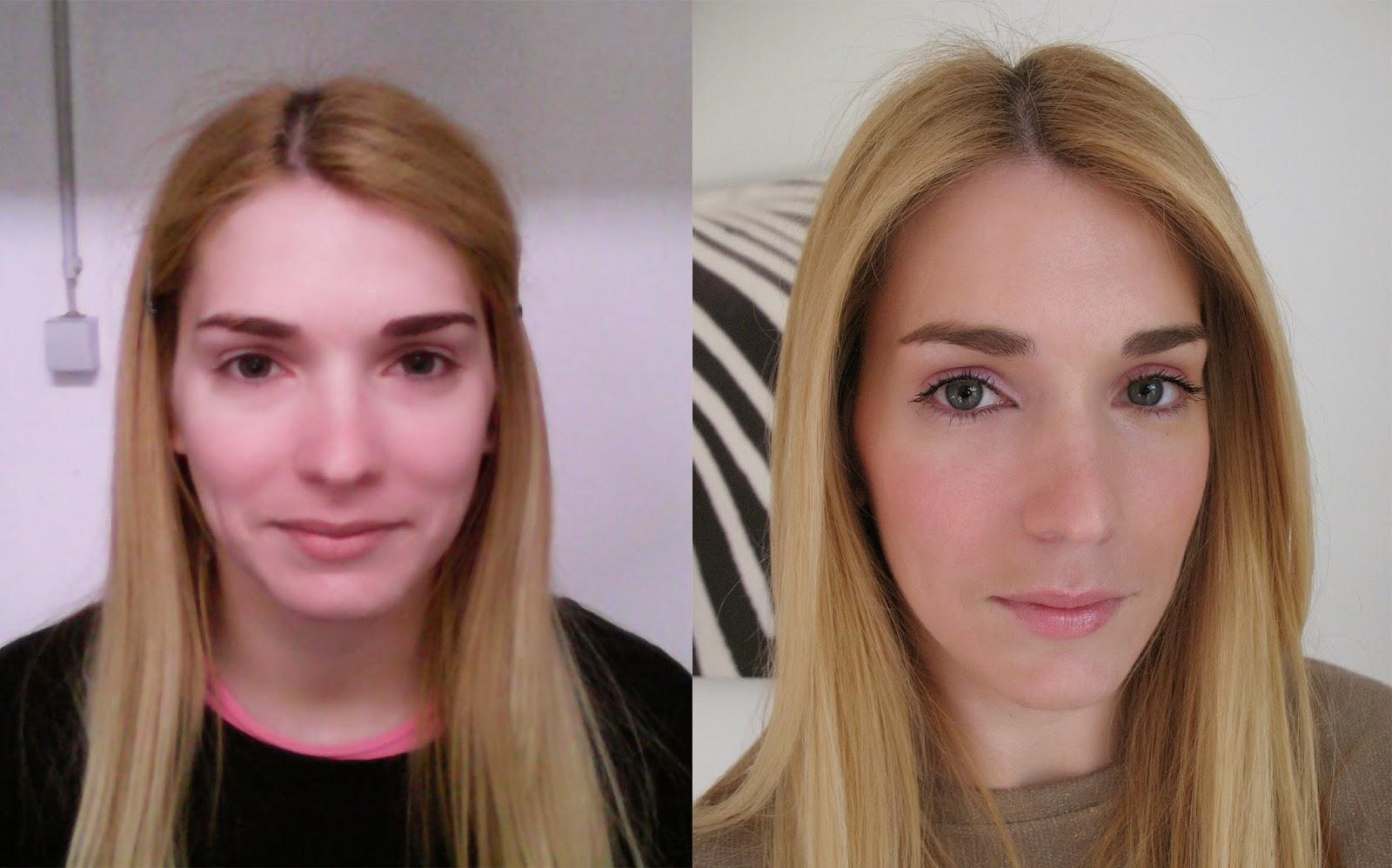 Maquilhagem natural feita pela cliente na aula - antes e depois