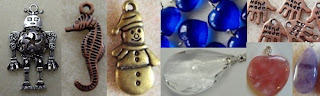 metal charms, glass pendants, gemstone pendants