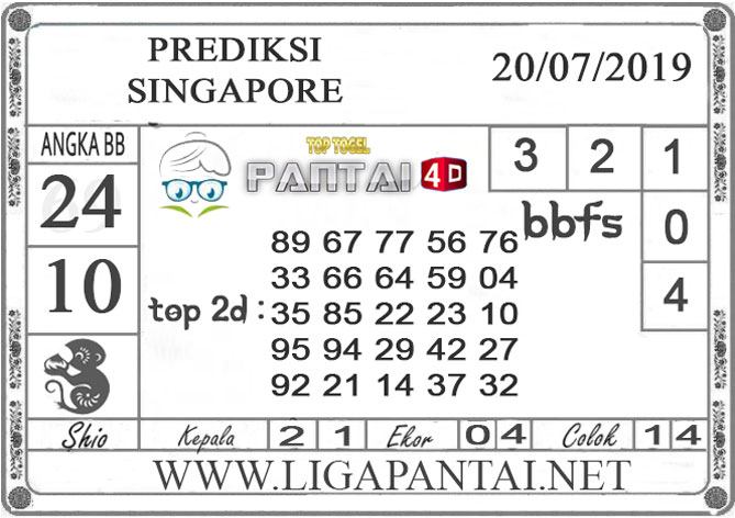 "PREDIKSI TOGEL ""SINGAPORE"" PANTAI4D 20 JULI 2019"