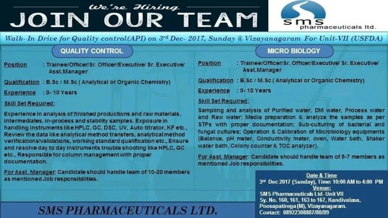 SMS Pharmaceutical ltd walk-in 3rd December for QC & Microbiology ...