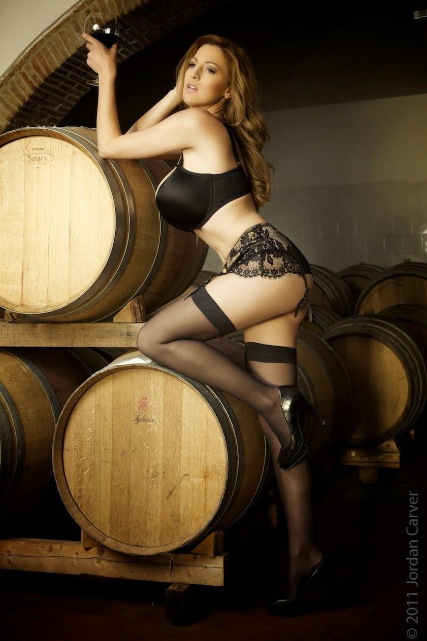 Jordan Carver Big Boobs Show Black Bra In Winetasting -6839