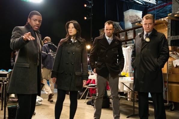 Jon Michael Hill returns as Detective Marcus Bell with Aidan Quinn as Captain Gregson in CBS Elementary Season 2 Episode 15 Corpse De Ballet