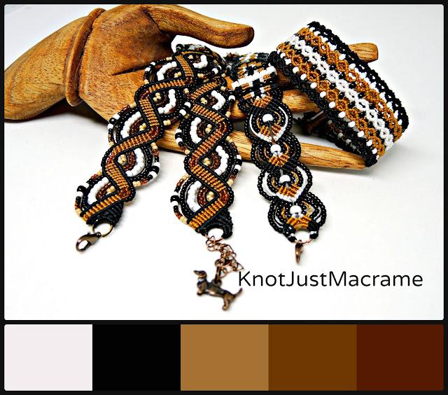 Micro macrame bracelets in Sweetheart color palette.