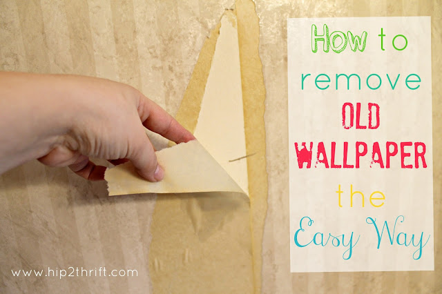 hip2thrift: How to remove old wallpaper easily {Bathroom Makeover}