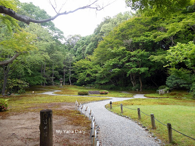 Moss garden views at the Yoshikien garden in Nara, Japan
