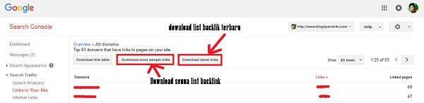 Cara Melihat & Download List Backlink Dari Google Webmaster Tools