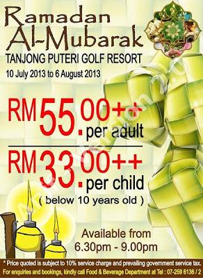 Tanjong Puteri Golf Resort  Dewasa RM55++  Kanak-kanak RM33++  Untuk tempahan : 07 259 6136 / 07 259 6132