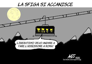 Monte Bianco, funivia, raggi, roma, assessori, vignetta, satira