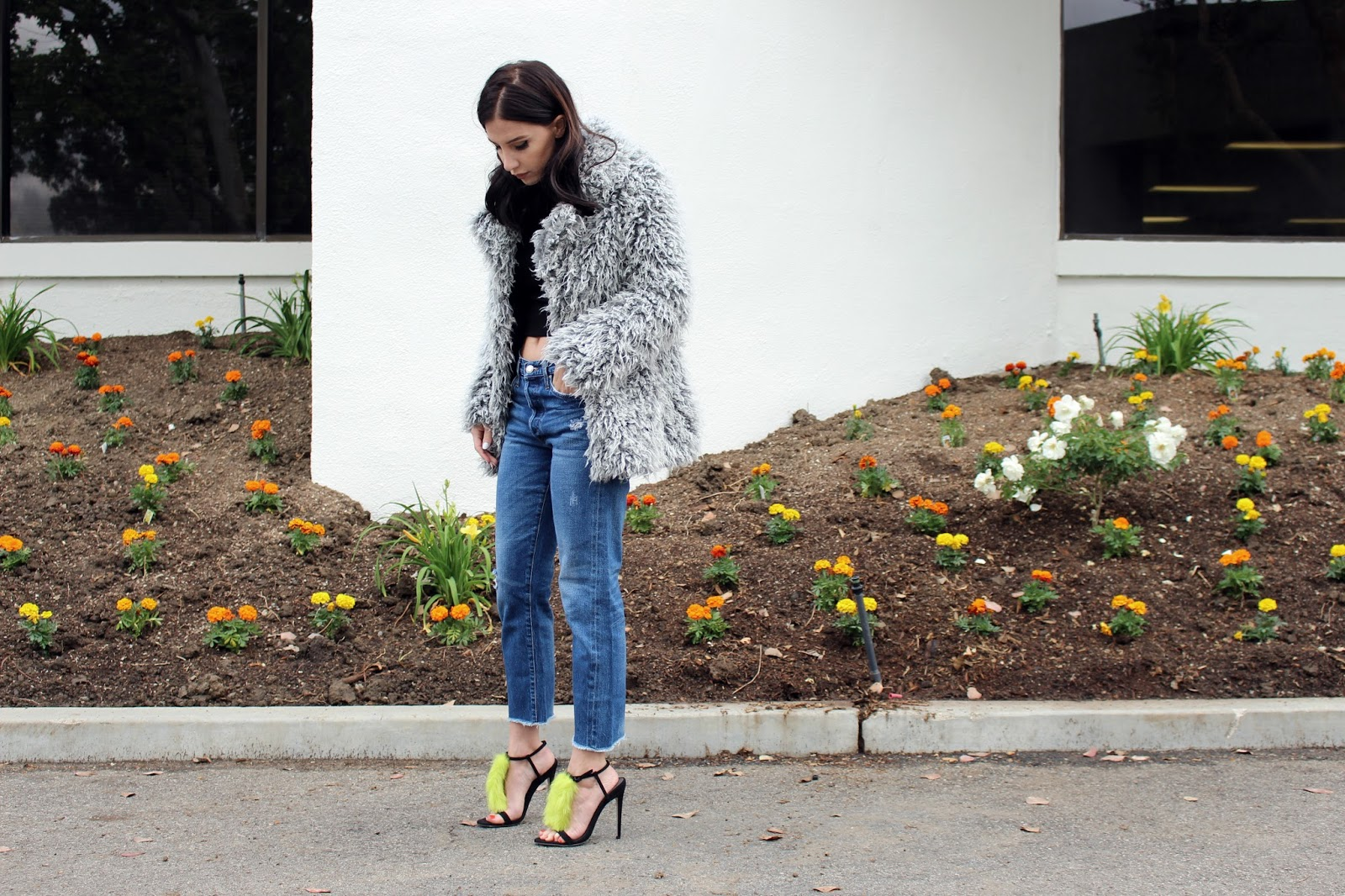 fur shoes, fur heels, vintage jeans, faux fur jacket, fur coat, spring 2016, spring trends, street style, tourdestfu, turtleneck, layered outfit