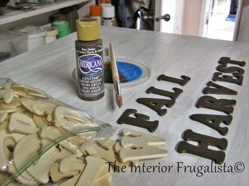 Paint small wooden letters with acrylic craft paint in Raw Umber.