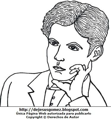 Dibujo de Federico García Lorca para niños para colorear o pintar. Ilustración de Federico García Lorca de Jesus Gómez