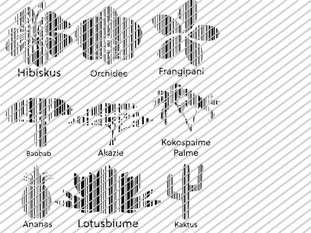 Alle Cutfiles die im Set BarcodeFlora von Lalillyherzileien enthalten sind auf einen Blick