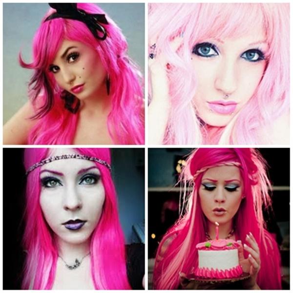 inspiração de cabelos cor de rosa