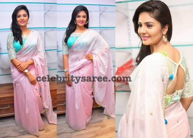 Sreemukhi Baby Pink Saree