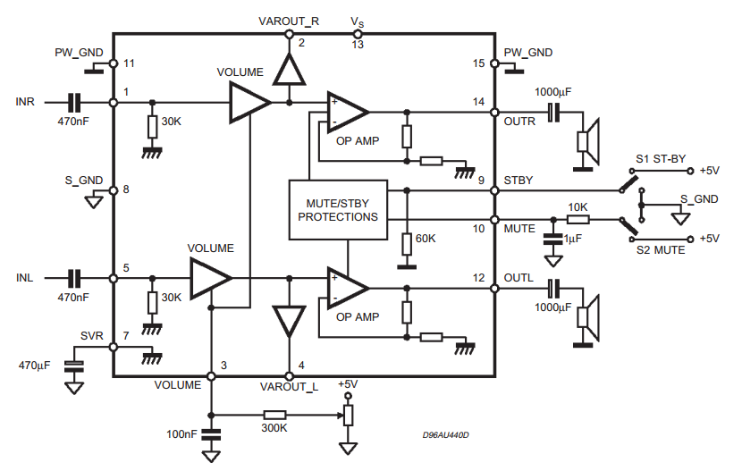 Forum Diagram: 5W 5W AMPLIFIER WITH DC VOLUME CONTROL TDA7496